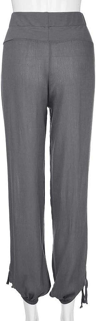 ANJUNIE Women Solid Buttons Cotton Linen Palazzo Loose Trouser Wide Leg Gym Workout Pants