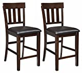 Ashley Furniture Signature Design – Haddigan Counter Barstool – Set of 2 – Vinyl Upholstered Seat – Dark Brown Finish