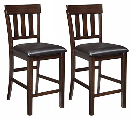 - Ashley Furniture Signature Design - Haddigan Counter Barstool - Set of 2 - Vinyl Upholstered Seat - Dark Brown Finish