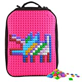 Upixel Classic Backpack – DIY Pixel Art – School Laptop Bag with Multi Pockets – Fuchsia/Hot Pink
