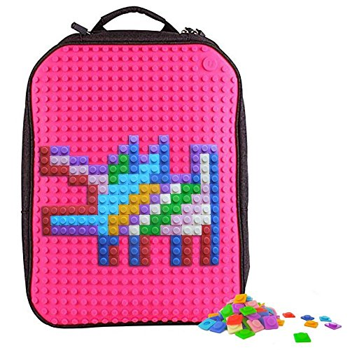 Upixel Classic Backpack – DIY Pixel Art – School Laptop Bag with Multi Pockets – Fuchsia/Hot Pink by Upixel