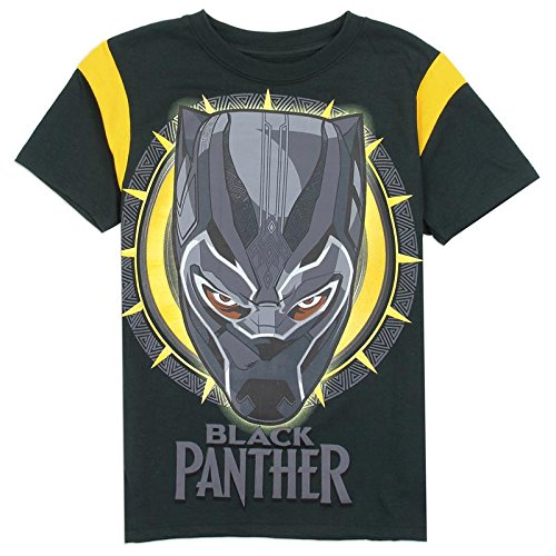 Marvel Black Panther Boys T-Shirt, Black/Yellow, Size 10/12