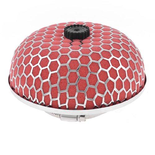 "uxcell Car 3"" 76mm Dia Air Intake Filter Mushroom Shape Red Silver Tone"