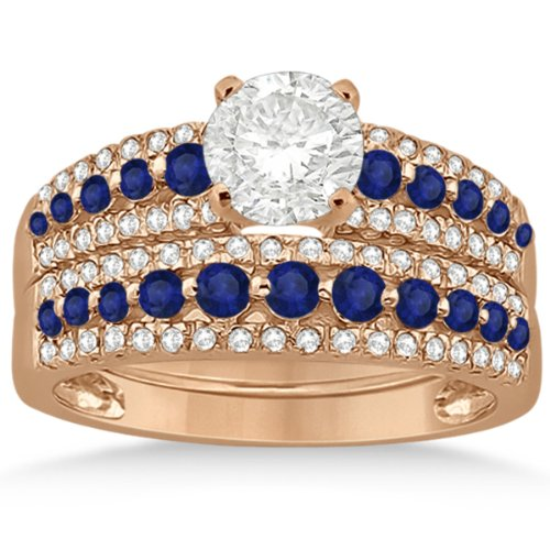 Semi-Eternity Three-Row Prong Setting Blue Sapphire and Diamond Bridal Set in 14k Rose Gold 1.18ct