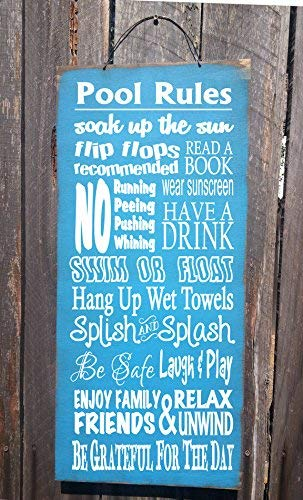 Funlaugh Pool Sign Pool Decor Pool Rules Sign Pool House Decor Pool House Sign Swimming Pool Sign Backyard Decor Wooden Plaque Sign Crafts for Living Room Decorative by Funlaugh
