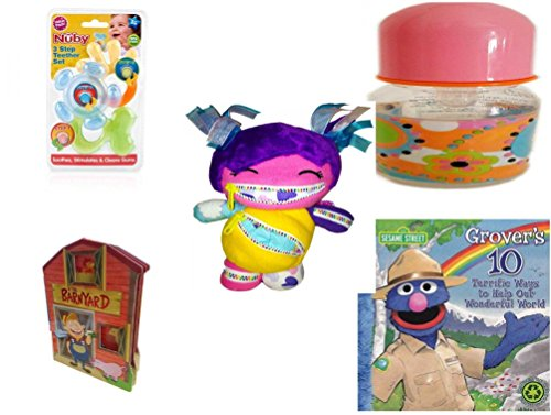 Children's Gift Bundle - Ages 0-2 [5 Piece] Includes: Nuby 3 Step Soothing Teether Set, BPA Free, ID Gear Baby Bottle Pucci Look 4 oz, Playdin Zairy Fairy Plush, At (Pucci 2 Piece)