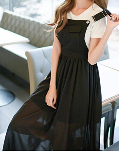 Dress Cromoncent Chiffon Pleated Women Black Adjustable Overall Casual Swing Strap 8O8Srqw
