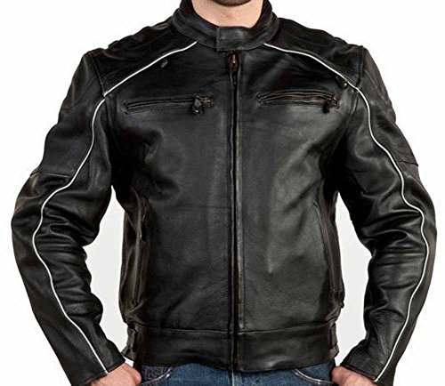 Ultimate Leather Apparel Mens Vented Naked Cowhide Leather Motorcycle Jacket Reflectors on Front and Back 4XL Black