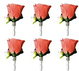 Angel Isabella Set of 6pc Rose Boutonniere - Coral Reef and White Rose Bud,Ribbon Stem with Bling.pinincluded
