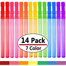 """Bubble Wand, 14"""" Big Bubble Wand Set(14 Pack 7 Colour), Non-toxic Smelless Bubble Toy For Kids Child Birthday Party Favor Wedding Summer Outdoor Activity Bathroom Bath Toys, by MAPIXO"""