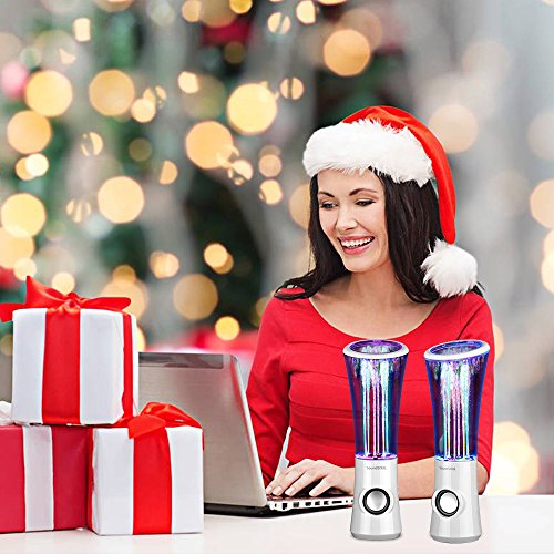 SoundSOUL Dancing Water Speakers LED Speakers Water Fountain Speakers Mini Music Amplifier(6 Colored LED Lights,Dual 3W Speakers,Perfect Birthday/Thanksgiving for Your Family) - White by SoundSOUL (Image #5)