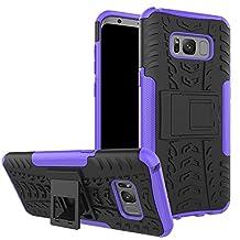 Samsung Galaxy S8 Plus Case, S8 Plus Case, Moment Dextrad [Built-in Kickstand] [Dual Layer] [Non-Slip] [Scratch/Dust Proof] (Galaxy S8 Plus Hybrid Full-body case) + Capacitive Stylus (Purple)