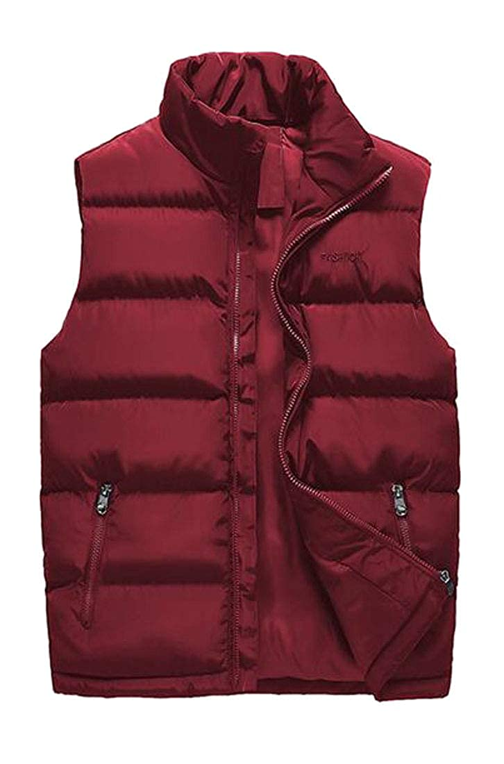YYG Men Casual Loose Fit Solid Sleeveless Plus Size Down Puffer Vest Jacket Outerwear