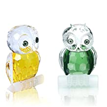 H&D Set of 2 Mini Crystal Owl Figurine Collection Paperweight Table Centerpiece Ornament (Yellow&Green)
