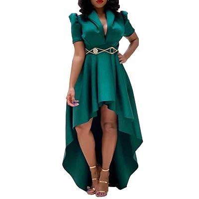 VERWIN Short Sleeve V-Neck Asymmetric High Waist Women's Day Dress Pullover Plain Midi Dress Maxi Dress at Women's Clothing store