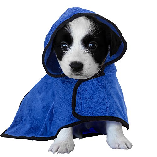 BASEN Pet Bathrobe, Fast Dry Pet Bath Towel, Quickly Absorbing Water Bath Robe for Dog and Cat (XS)