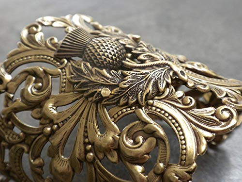Wide Brass Cuff Bracelet Scottish Thistle Outlander Jewelry
