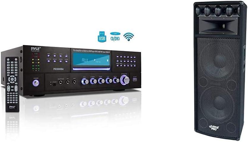 4 Channel Wireless Bluetooth Amplifier - 3000 Watt Stereo Speaker Home Audio Receiver w/FM Radio & Portable Cabinet PA Speaker System - 1600 Watt Outdoor Sound System Vehicle Stereo Speakers,Black