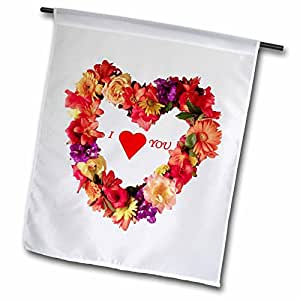 Florene Flowers - I love You Wreath Of Flowers - 12 x 18 inch Garden Flag (fl_52369_1)