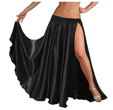 """615f8ed1aa Indian Trendy 36"""" Long Women's Satin 2 Slit Full Skirt Belly Dance  Gypsy Tribal 9"""