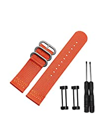 Efitty Luxury Nylon 3 Ring Lugs Watch Band Strap Replacement + Adapters For Suunto Core (Red)