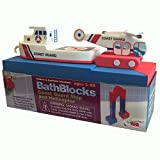 BathBlocks Bathtime Consruction Building Toy - Coast Guard Boat & Helicopter