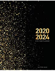 2020-2024 Five Year Planner-Gold Glitter: 60 Months Calendar, 5 Year Monthly Appointment Notebook, Agenda Schedule Organizer Logbook and Business Planners with Federal Holidays (2020,2021,2022,2023,2024)