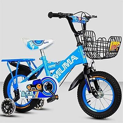"""K-G Bicicleta Infantil Niño Rueda de la Bici Ajustable niños Formación de Bicicletas con estabilizadores Cesta de 2-12 años 12"""" 14"""" 16"""" 18"""" 20"""" (Color : Blue, Size : 12 Inch): Amazon.es: Deportes y aire libre"""
