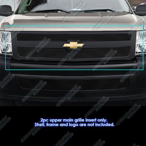APS Fits 2007-2013 Chevy Silverado 1500 Black Billet Grille Grill Insert #N19-H66756C