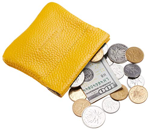 Travelambo Leather Squeeze Coin Purse Pouch Change Holder For Men & Women (pebble Yellow Energetic) ()