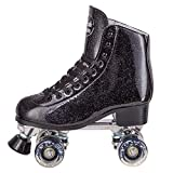 Cal 7 Sparkly Roller Skates for Indoor & Outdoor Skating, Faux Leather Quad Skate with Ankle Support & 83A PU Wheels for Kids & Adults