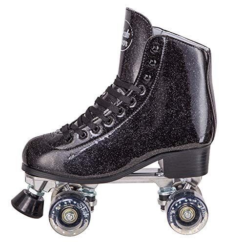 Cal 7 Sparkly Roller Skates for Indoor & Outdoor Skating, Faux Leather Quad Skate with Ankle Support & 83A PU Wheels for Kids & Adults (Black, Men's 9/ Women's (Women Outdoor Roller Skates)