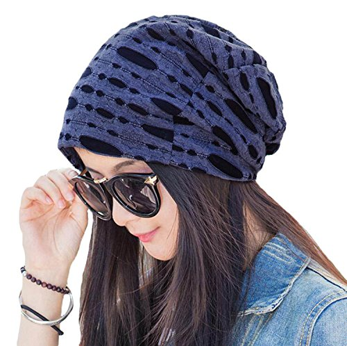 Zando Double Layered Lightweight Skull Sleep Beanie Slouchy Chemo Caps Stretchy Soft Cotton Hats for Women 1 Pack Warm Navy Blue One (Lightweight Ribbed Beanie)