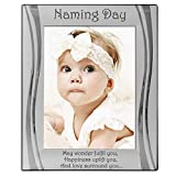 Large Naming Day Photo Frame, 8' X 6' Silver, Engraved with 'May wonder fulfil you, Happiness uplift you, And love surround you...' Naming Day Gift, Present,