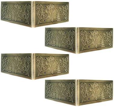 Caja de la esquina Protectores de la caja del metal banda de seguridad Guards4Pcs antiguo en relieve decorativo de latón esquina Protectores apoyos Tablas muebles clásicos y Sillas de TV gabinete de