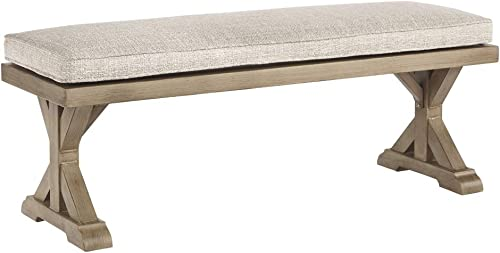 Ashley Furniture Signature Design – Beachcroft Outdoor Bench with Cushion – Dining Bench – Removable Cushion – Beige