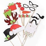 CLE DE TOUS@ 17pcs Set Accesorios para Photocalls Photocall Christmas set Las pajitas Papel Decorativo Para Fiesta Navidad Mascarada