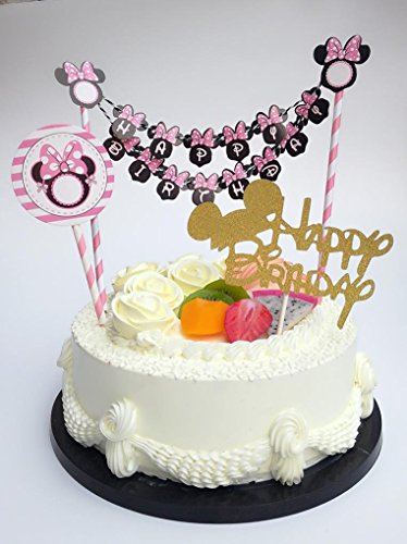 Sweet Heart Birthday Cake Topper- Happy Birthday Letter With Minnie & Mickey Mouse Ear - Cake Decoration (Minnie Cake)