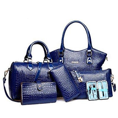 Aoligei Crocodile modèle sac féminin haut de gamme tendance six pièces Lady sac à main fashion unique épaule diagonales croisée pack D