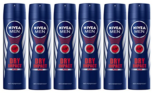- Nivea Men's Anti-Perspirant Deodorant Spray, Dry Impact, 150 mL/5.07 oz, Pack of 6