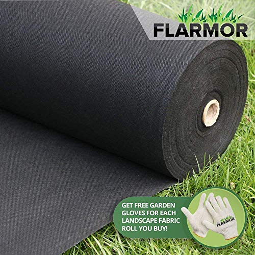 Weed Shield Garden - FLARMOR Landscape Fabric Heavy Duty - Weed Barrier Landscape Fabric - Weed Blocker - Garden Fabric Roll - Commercial Weed Control Fabric 3 Ft X 300 Ft