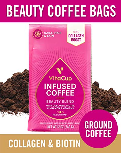 VitaCup Beauty Blend Ground Coffee Bags 12oz with Collagen, Biotin, Cinnamon, Manganese Keto | Paleo | Whole30 Friendly for Coffee Brewers, Pots, and French ()
