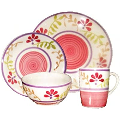 Click for Gabrielle Bloom Pink Floral 16 Piece Dinnerware Set Service for 4