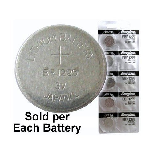 2 X Energizer EBR1225 (BR1225, CR1225) Lithium Coin Cell, On Tear Strip (Pack of 5)
