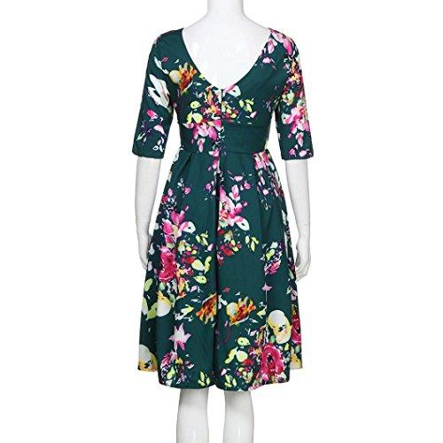 263bff22759 Reaso Femme Été Retro Robe de Plage Imprimé Floral Robe de Genous Col Rond Chic  Robe