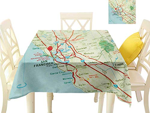 Angoueleven Tablecloth Map,Vintage Map of San Francisco Bay Area with Red Pin City Travel Location,Pale Blue Pale Green Red Great for Buffet Table W 54