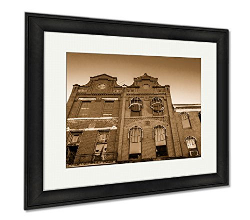 Ashley Framed Prints Looking Up At Buildings In Old Town Mall Baltimore Maryland, Modern Room Accent Piece, Sepia, 34x40 (frame size), Black Frame, - Baltimore Malls Maryland