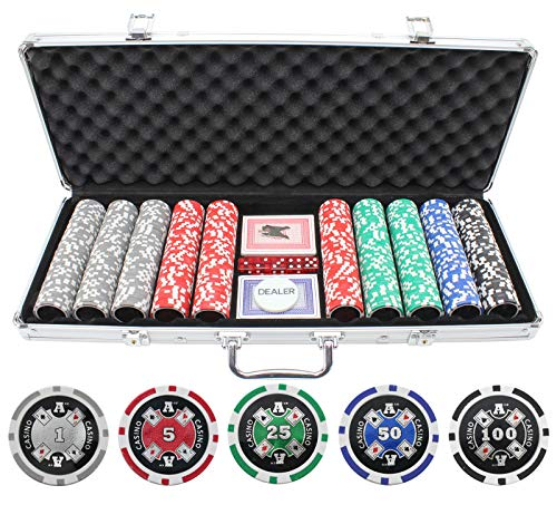 Versa Games 13.5g 500pc Aces Up Clay Poker Chips Set