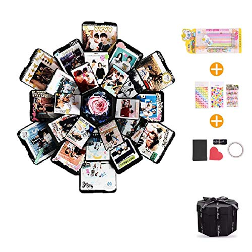 EKKONG Explosion Box, DIY Handmade Photo Album Scrapbooking,Gift Box with 6 Faces for Wedding Box, Birthday Party (Black) -