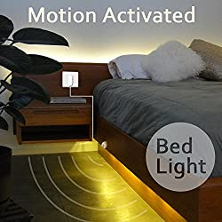 Excellux Dimmable Bed Light .Activated Night Light with Motion Sensor and Power Adapter.LED Strip Light for Bedroom, Crib Cot, Stairs, Cabinet, Kitchen, Bathroom(warm white)